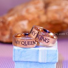2 Piece Couple Set 14K Rose Gold Tungsten Bands with Flat Edge My Queen My King Matching Wedding Bands - 8mm Tungsten Rings