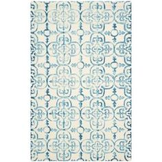 Luna Rug in Ivory & Turquoise