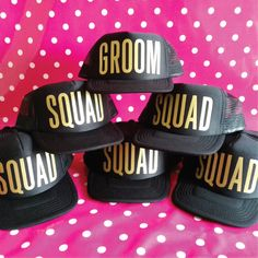 Set Of 6 Wedding Party Hats. 1 x Groom Hat. 5 x Squad Hats. Bachelor Party Hats. Stag Party Hats. Snapback Trucker. Stag Do. by SoPinkUK on Etsy
