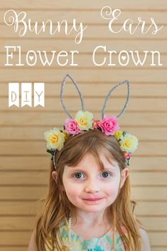 DIY Bunny Ears Flower Crown Headband #Easter #Crafts #DIY #Photography