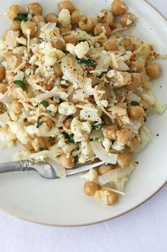 Roasted Cauliflower Chick Pea Salad