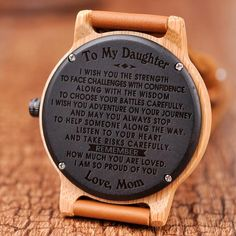 Great Gifts To My Daughter Engraved Wooden Watch Love Gifts, Great Gifts, Diy Gifts, Choose Your Battles, Love Store, Wooden Watch, Engraved Gifts, Beautiful Watches, Gift Store