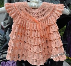Click to view pattern for - Crochet delicate pink dress for girl