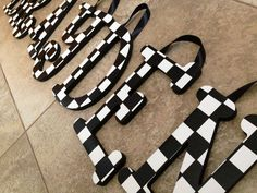 100% hand made! These letters are perfect for a race car themed bedroom, play area, or garage! Custom Decor for Kids Rooms and more Custom wood letters can be painted to match almost ANY theme or colo