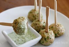 Southwest Turkey Meatballs w/creamy cilantro dipping sauce. dipping sauce is not so healthy but the Turkey Meatballs look great I Love Food, Good Food, Yummy Food, Tapas, Healthy Snacks, Healthy Recipes, Healthy Appetizers, Delicious Recipes, Turkey Meatballs