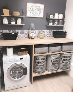Love this pretty and organized laundry room by Modern Laundry Rooms, Laundry Room Layouts, Laundry Room Organization, Laundry Room Design, Organization Ideas, Storage Ideas, Laundry Decor, Laundry In Bathroom, Basement Laundry