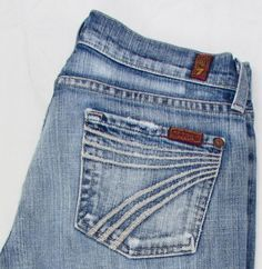 7 for all Mankind Dojo Crop Caribbean Express Jeans Distressed Low Rise 26 X 23 #7ForAllMankind #CapriCropped
