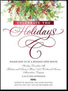 HOLIDAY OPEN HOUSE party invitation Christmas party invitation ...