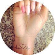 Small Heartbeat Tattoo Design: On Inner Wrist
