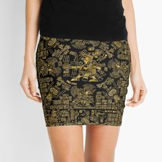 """""""Mayan Spring GOLD"""" Mini Skirt by GrandeDuc 
