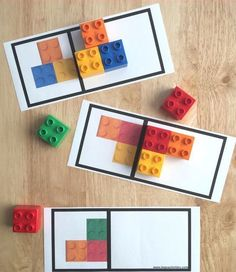Great way to use Lego for a Montessori matching activity :) Symmetry Activities, Montessori Activities, Stem Activities, Kindergarten Math, Toddler Activities, Learning Activities, Preschool Activities, Kids Learning, Aba Therapy Activities