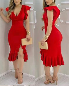 Red Bodycon Dress, Slit Dress, Chic Type, Trend Fashion, Elegant Outfit, Modest Dresses, Flutter Sleeve, Dress Making, Sleeve Styles