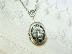 Silver Locket Necklace- The ORIGINAL Silver Peacock Scent Locket  - Jewelry by BirdzNbeez - Valentine's Day Birthday Wedding Bridesmaid Gift...