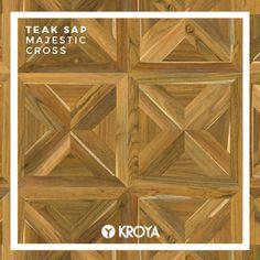 KROYA Teak Sap Majestic Cross Floor Design, Teak, Closer, Floors, Tropical, Wood, Parquetry, Home Tiles, Flats