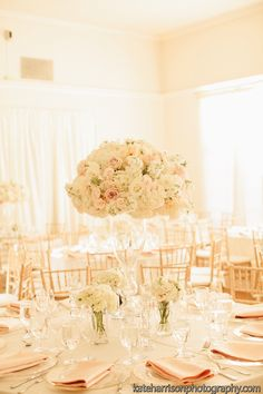 blush pink, ivory, gold, lace wedding, romantic wedding, tall centerpiece, lush centerpiece // Events by Satra // Nicole Ha Floral Design // Kate Harrison Photography