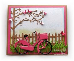 card with bicycle bike tree fence grass bird nest adventure travel journey  #bikecard fence tree - Marianne design die - Karte Radtour