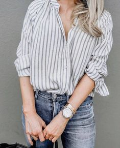 Summer Work Outfits, Simple Outfits, Casual Outfits, Cute Outfits, Fashion Outfits, Button Down Shirt Outfit Casual, Outfits With Striped Shirts, Glamour, Colorful Fashion