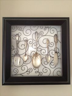 Shadow box + scrapbook paper+ old antique silverware = cute kitchen decor! Red Kitchen Decor, Cute Kitchen, Vintage Kitchen Decor, Boho Kitchen, Awesome Kitchen, Kitchen Design, Ikea Hacks, Pottery Barn Kitchen, Fixer Upper