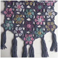Ravelry: Merino Soft Flower Shawl pattern by Atty van Norel Shawl Crochet, Crochet Shawls And Wraps, Crochet Art, Crochet Motif, Crochet Crafts, Crochet Flowers, Crochet Stitches, Crochet Projects, Crochet Patterns