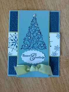 Handmade Christmas Card Kit Blue with Tree Made with Mostly Stampin Up Pro | eBay