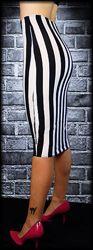 Vertical striped pencil skirt.