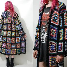 CROCHET Granny Square Jacket Sweater HANDMADE ooak Long Cardigan Knit Wool Bohemian Hippie Gypsy Rainbow XS S M