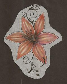 orange lily tattoo