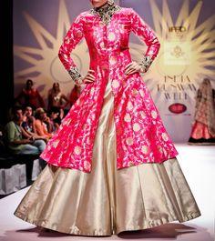 #Pink And #Golden Zardozi Banarasi #Silk #Lehenga Set