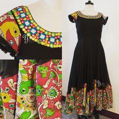A Black Kota Silk Color Splashed With Kalamkari Border And Multi Mirror Work For Orders