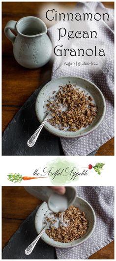 This simple cinnamon pecan granola is vegan and delicious!