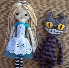 Alice + Gato de Cheshire https://www.facebook.com/MiGusAmigurumis