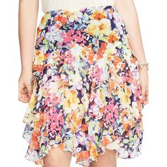 Lauren Ralph Lauren Plus Floral-Print Ruffled Skirt ($47) ❤ liked on Polyvore featuring plus size women's fashion, plus size clothing, plus size skirts, navy multi, navy maxi skirt, floral print maxi skirt, panel skirt, navy floral skirt and navy blue skirt