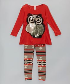 Look what I found on #zulily! Coral Owl Tunic & Tribal Leggings - Girls #zulilyfinds