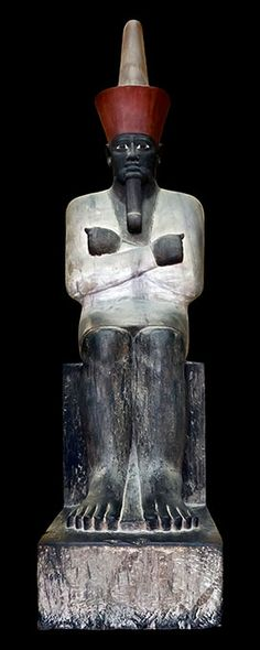 Cairo Museum, Painted Limestone Sculpture of King Mentuhotep I, founder of Dynasty 11 and the Middle Kingdom, from his Mortuary Chapel at Deir-el-Bahri. Kemet Egypt, Egyptian Pharaohs, Ancient Egyptian Art, Ancient History, Egyptian Kings, Egypt Art, Ancient Artifacts, African History, Ancient Civilizations