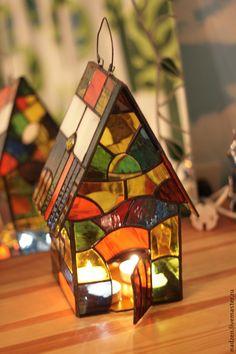 Купить Подсвечник фонарик из цветного стекла витраж тиффани Домик Климта - дом, домик, Климт