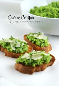 Authentic Suburban Gourmet: Cognac Crostini with English Peas, Parmesan and Mint | Secret Recipe Club
