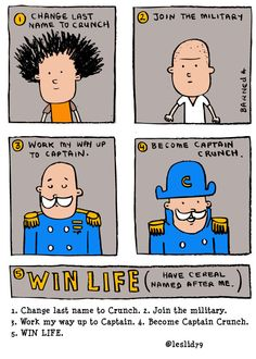 1. Change last name to Crunch. 2. Join the military. 3. Work my way up to Captain. 4. Become Captain Crunch. 5. WIN LIFE