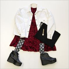 Some of our favorites! THE WHITEPEPPER Velvet Angel Dress Burgundy and our Simple Lace-up Wedge Boots. Get both at www.thewhitepepper.com
