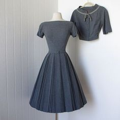 vintage 1950's dress ...never worn classic PAT HARTLY ORIGINAL gray wool full skirt dress and bolero jacket with bow: