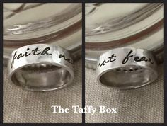 Faith not Fear sterling silver hand stamped ring with cursive font can be customized both inside and out!