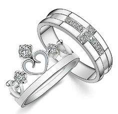 Gold Plated Cubic Zirconia Water Prints Couple Ring For Men Size 8. List price is for one ring only. Purchase two rings for a matching set. We only offer this ring in sterling silver (please check out ASIN B01K4SFXBI).