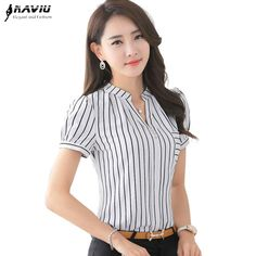 2016 Summer fashion stripe shirt female V-neck short-sleeve chiffon women blouse office formal Business plus size work wear tops Blouse Styles, Blouse Designs, Office Outfits, Casual Outfits, Work Tops, Work Attire, Corsage, Dress Patterns, Blouses For Women