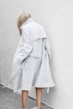 loving this grey white overcoat