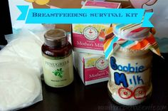 Breastfeeding survival kit to help increase breast milk production for new moms. The kit includes- lactation cookies, Mother's Milk Tea, Fenugreek, and nursing pads. Horrible Housewife increased her supply 11 ounces a day!