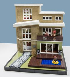 Lego Fjotten built an amazing contemporary residence for a competition. The villa is packed full of details including the brick built sidewalk, floor/carpet pa