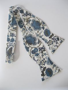 Blue Liberty of London Print Bow Tie navy blue by staghandmade