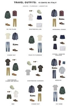 Packing list: Guy's Italy outfits Well, I gave it a shot with a guy's packing list, too! A lot of it is pretty easily mix-and-matchable, given that every shirt can virtually go with any bottom. Capsule Wardrobe Men, Fashion Capsule, Fashion Outfits, Mens Wardrobe Essentials, Men's Wardrobe, Mens Style Guide, Men Style Tips, Minimalist Wardrobe Men, Wardrobe Color Guide