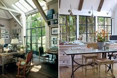 I want the studio on the left!!! Combination of industrial and older furniture is great - plus the combination of skylight and wall of windows.
