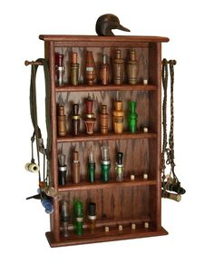 32-Call Wall Display Case w/ Hand Carved Decoy Head