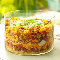 To feed a crowd, especially when I want to make a good impression, I make this eye-popping cornbread salad. It's beautiful in a trifle bowl. I love it in summer, when we can make it with our own garden produce. —Debbie Johnson, Centertown, Missouri Southern Cornbread Salad, Cornbread Salad Recipes, Southern Salad, Taste Of Home Cornbread Salad Recipe, Layered Cornbread Salad, Mexican Cornbread Salad, Cornbread Dressing, Healthy Cooking, Cooking Recipes